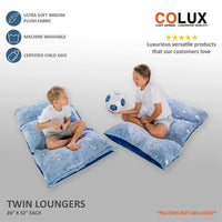COLUX 3 IN 1 Glow in The Dark Floor Pillow COVER for Kids. COVER ONLY. Fold out chair bed, boy & girl pillow beds, kids couch, lounge chairs, happy nappers fold out sofa bed, teen body pillow loungers