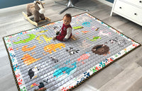 Moiré Baby A to Z Animal Learning Play Mat Extra Large 76 in. x 58 Padded Crawling Carpet for Babies (A to Z Animal)