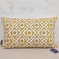 Decorative Pillows Cover Mustard Gold Lumbar Pillow Cushion Cover Dark Yellow Ochre Color Trellis Mina 1 pc Throw Pillow Case, Pure Cotton Canvas 12x20 inch (30x50cm)