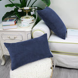 CaliTime Pack of 2 Cozy Bolster Pillow Covers Cases for Couch Bed Sofa Ultra Soft Corduroy Striped Both Sides 12 X 20 Inches Navy Blue