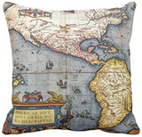 "Wonder4 Geography Theme Throw Pillow Covers Home Decorative Map Art Throw Pillow Cases Couch Covers Decoration,2X Maps +1x Compass + 1x Navigation Compass for Home Sofa Bedding Set of 4 (18""x18"")"