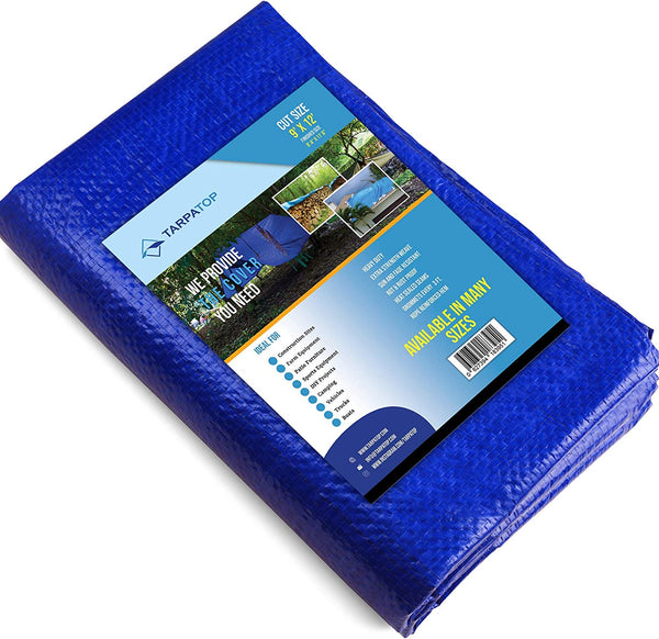 12x16Waterproof Multi-Purpose Poly Tarp – Blue Tarpaulin Protector for Cars, Boats, Construction Contractors, Campers, and Emergency Shelter. Rot, Rust and UV Resistant Protection Sheet