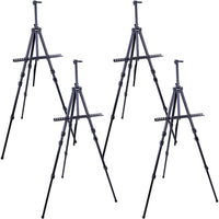 "U.S. Art Supply 72"" Sturdy Black Aluminum Tripod Artist Field and Display Easel Stand - Adjustable Height 25"" to 6 Feet, Holds 52"" Canvas - Floor and Tabletop Displaying, Painting - Portable Bag"