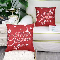 CaliTime Pack of 2 Soft Canvas Throw Pillow Covers Cases for Couch Sofa Home Decoration Merry Christmas White Reindeer 18 X 18 Inches Christmas Red