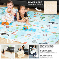 Reversible Baby Play Mat - A Modern Design on One Side Turns into Cute Ocean Design on the Other. Our Soft Foam Kids Playmat is Great on the Floor for Infants and Toddlers, Crawling, Gym or Tummy Time