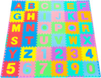 "ProSource Kids Foam Puzzle Floor Play Mat with Shapes & Colors or Numbers & Alphabets, 36 Tiles, 12""x12"" and 24 Borders"