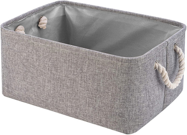Collapsible Storage Basket Bins, Decorative Foldable Rectangular Linen Fabric Storage Box Cubes Containers with Handles- Large Organizer For Nursery Toys,Kids Room,Towels,Clothes, Grey 16Lx12Wx7.9H