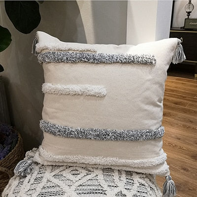 Handmade Grey Cushion Cover Pillow Case Strip Tassels Neutral Decorative For Sofa Seat Home Decorative Canvas 45x45cm 30x50cm