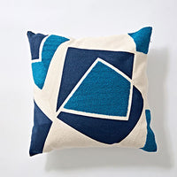 Embroidered Cushion Cover Blue Abstract Geometric Square Geometric Canvas Cotton Square  45x45cm Pillow Cover Home Decoration