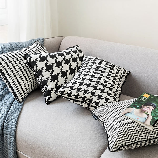 Black White Cushion cover 45x45cm/35x55cm  Hounds tooth Pillow Cover Canvas Home Decoration For Sofa Bed Durable Zip Open