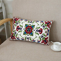 Home Decor Embroidered Cushion Cover Ethnic Floral Canvas Cotton Rectangle Embroidery Pillow Cover Lumbar Pillow Case 30x50cm