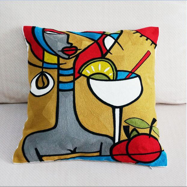 100% Canvas Abstract Painting Square Pillow Cover Embroidered Cushion Cover Car Chair Sofa Pillow Case 45x45cm Without Stuffing