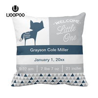 Custom Blue Grey Cushion Cover Square Cute Fox Cotton Canvas Pillow Cover Decorative Customized Gift Baby Birth Boy Pillow Case