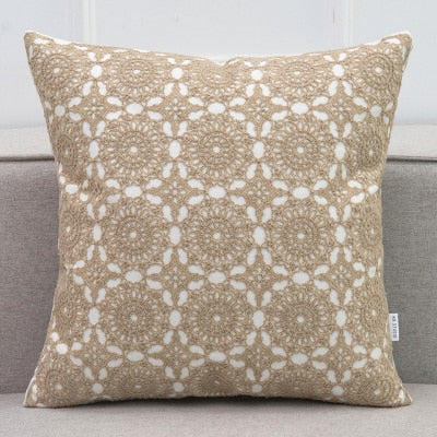 "18"" Embroidered Cushion Cover Lace Floral Circle Grey Yellow Khaki Ivory Blue Canvas Cotton Square  Pillow Cover 45x45cm"