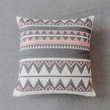 Geometric Embroidered Cushion Cover Pink Grey Pillowcase Canvas Cotton Square Embroidery Pillow Cover 45x45cm  Home Decor