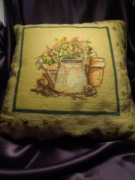 Estate Needlepoint Accent Pillow - Watering Can, Flowers, Garden - Vintage