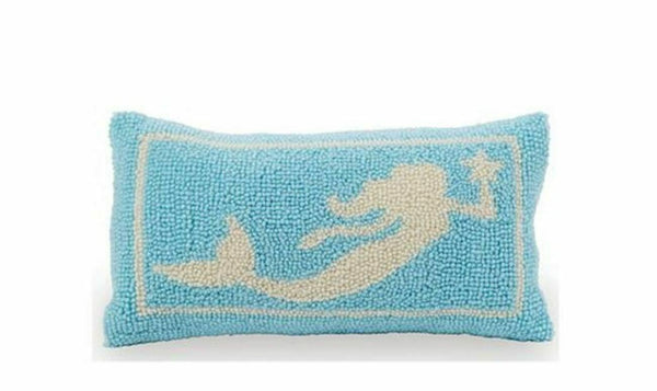 Mud Pie Swimming Mermaid Hooked Accent Throw Pillow Blue and White 12 Inches
