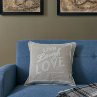 Beige Live Laugh Love Linen Embroidered Decorative Toss Throw Accent Pillow