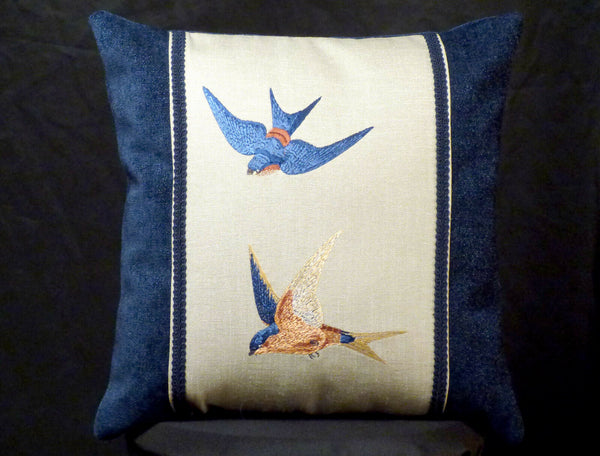 New Embroidered Blue Ceylon Swallow Birds Accent Pillow New 12 x 16 Insert