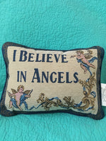 "VTG NWT Tapestry"" I BELIEVE IN ANGELS"" Accent~Throw Pillow~Made In USA"