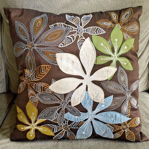 "PIER ONE IMPORTS Accent Pillow 18"" CARAFE Stylized FLORAL Embroidered Appliqué"