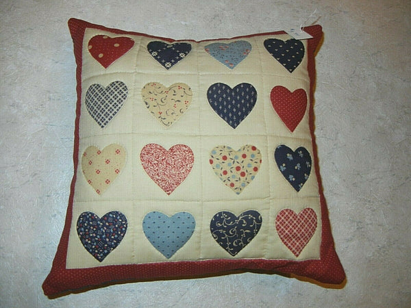 Handmade Accent or Decorative Pillow Featuring Hearts NWT
