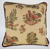 Rooster Hen Chicken Throw Cushion Accent Pillow Fence Tree French Country