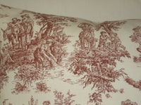 Burgundy and White Toile Lumbar Decorative Accent Throw Pillow Cover 12x16