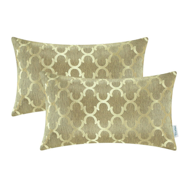 2Pcs Gold Cushion Covers Bolster Pillows Covers Cases Accent Geometric 12 X 20""