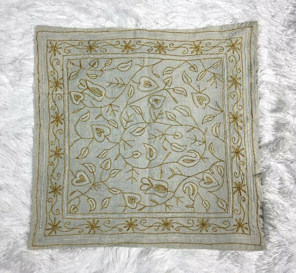 Throw Pillow Cover Light Blue w/ Metallic Gold & White Leaf Accents 16x16 NEW