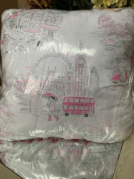 Nicole Miller Kids Accent Pillow PARIS Toile LARGE EURO Pom Pom Trimmed 26X26