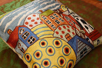 "Sea Side Cat Karla Gerard Accent Pillow Cover Handembroidered Art Silk 18""x18"""
