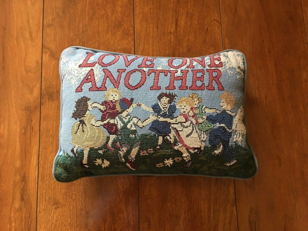 "Decorative Accent Pillow ""Love One Another"" Cross Stitch Tapestry Pillow 12x8"