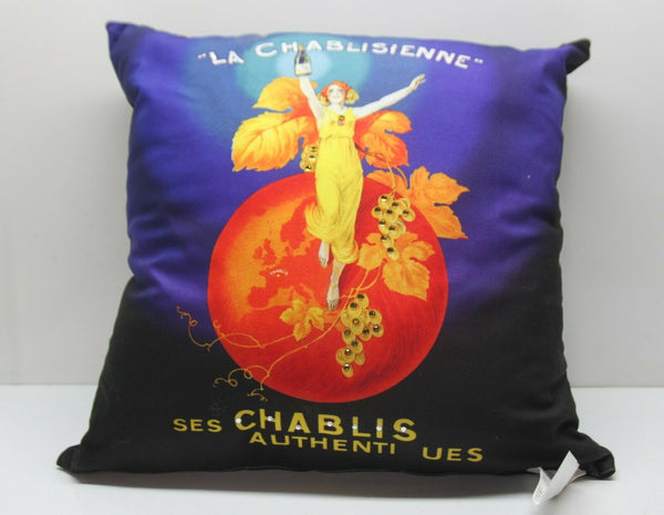 ⭐ La Chablisienne Chablis 20x20 Couch Toss Accent Throw Pillow Art Deco Made USA