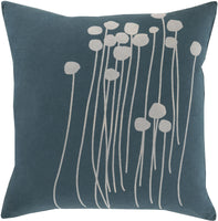 "Surya LJA-1818 Abo 18""W Square Botanical Cotton Accent Pillow Cover"