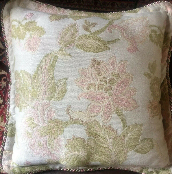 "Vintage Serendipity Tapestry Velvet Throw Pillow Accent pink green floral 19""sq"