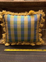 Blue & Gold Custom Made Throw Accent Pillow Tassles 12 X 10 Inches **pre-owned**