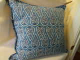 "Handmade 22"" Square Paisley Cotton Accent Pillow-Blue/White Paisley-Solid Back"