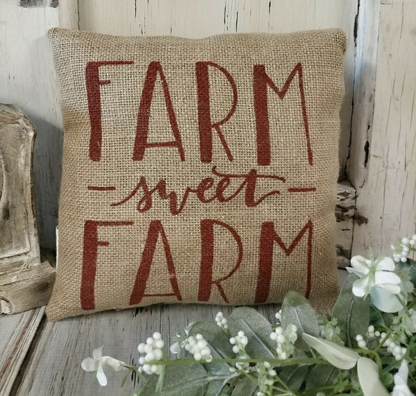 Farm Sweet Farm Burlap Farmhouse Home Decor Accent Pillow