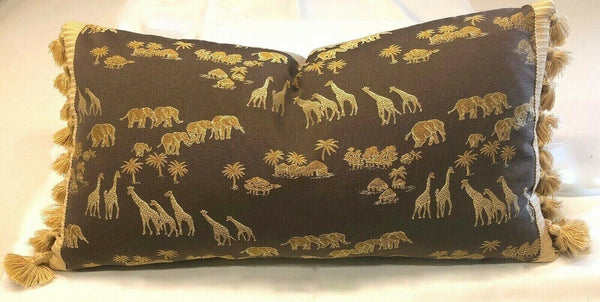 ACCENT PILLOW 24 X 12 SAFARI WOVEN JACQUARD. ELEPHANTS, GIRAFFE