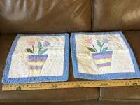 "2 White Blue Quilted Flower Pot Accent 16"" Pillow Covers ~ Adorable"