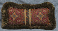 "NEW Fringed Accent Pillow made w Ralph Lauren Equestrian Paisley Fabric 14"" x 7"""