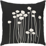 "Surya LJA-2222 Black Abo 22""W Square Botanical Cotton Accent Pillow Cover"