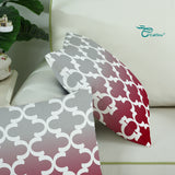 2Pcs Gray to Burgundy Cushion Covers Pillow Shells Accent Geometric Decor 18x18""