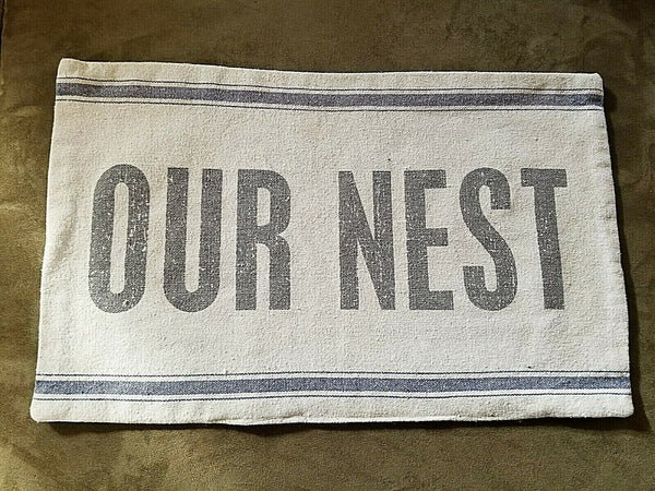 """OUR NEST"" Grain Sack Style Accent Pillow Cover, 14.5"" x 23"" Primitives by Kathy"