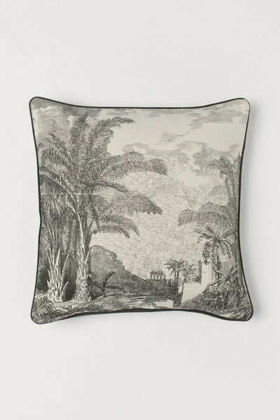 Morocco Landscape Pillow Cover 20 sq Ivory Charcoal Gray Moroccan Accent Sofa