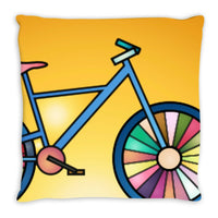 "Bicycle Print Square Accent Throw Pillow in 14"" - 16"" - 18"" Sizes"