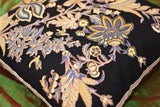 "Hawaii Black Floral Accent Cotton Pillow Cover Hand Block Print Design 16""x16"""