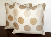 "Set of Two 20"" x 20"" Polka Dot Cotton Chenille Designer Accent Pillow Casings"