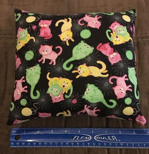 Beautiful Handmade Kitty Cat Fabric Accent Pillow